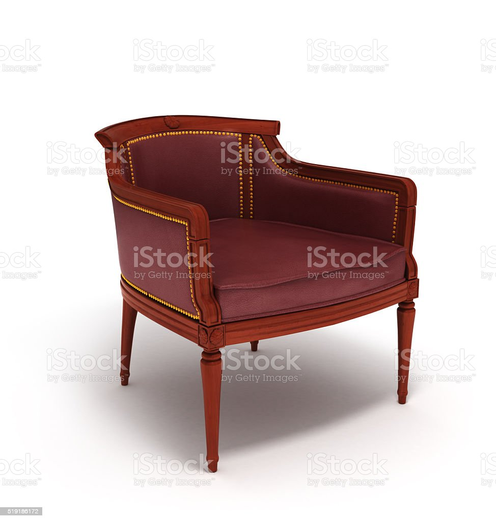 Old styled brown vintage armchair isolated on white background stock photo