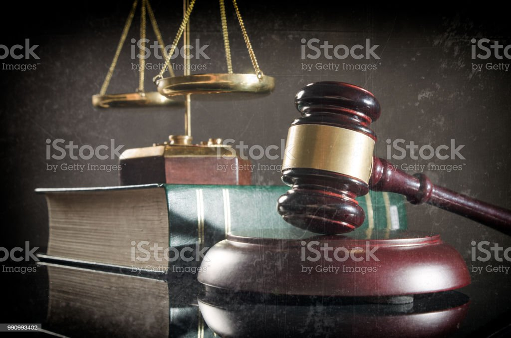 Old styled retro photo of law and justice concept stock photo