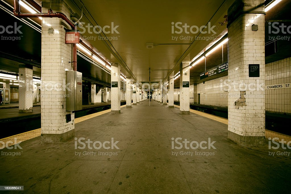 Old Subway Station New York City at Chambers St stock photo
