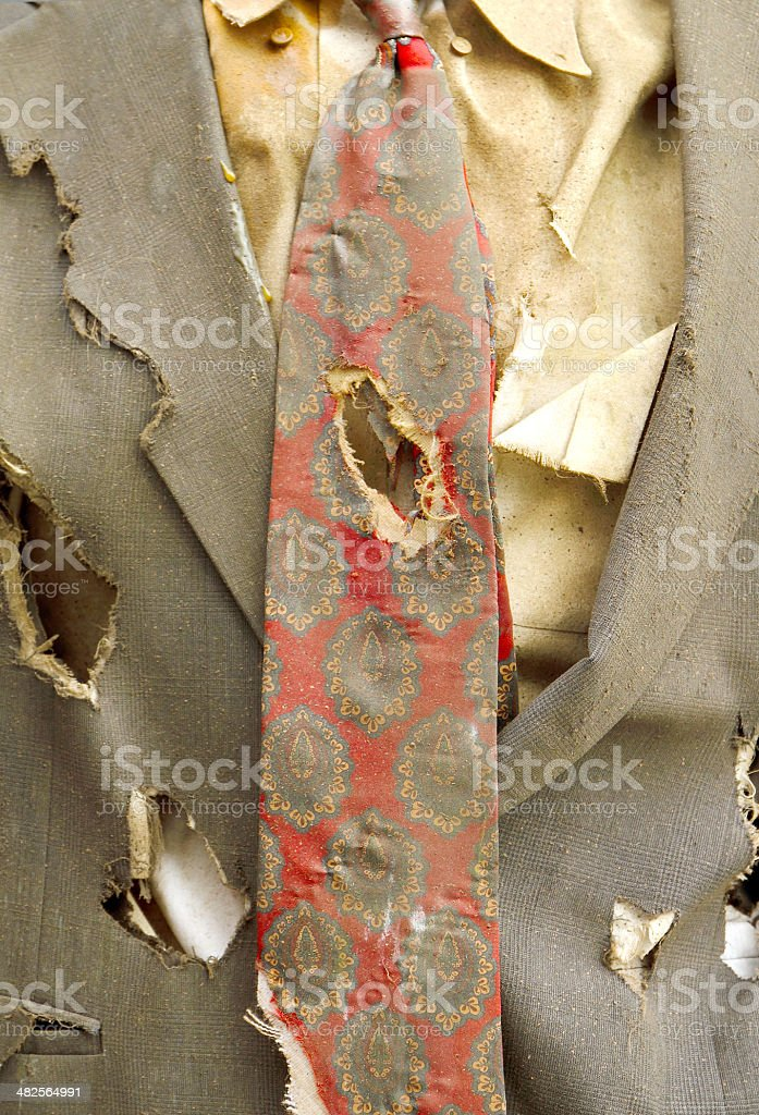 Old Suit tattered and dirty stock photo