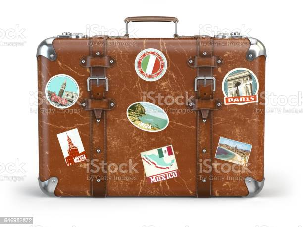 Old suitcase baggage with travel stickers isolated on white picture id646982872?b=1&k=6&m=646982872&s=612x612&h=7jxcdzrsv1ehxgcocgomiybcyvyldrdorvwqgc1e5ou=