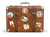 白い背景で隔離の旅行ステッカーと古いスーツケースの荷物。