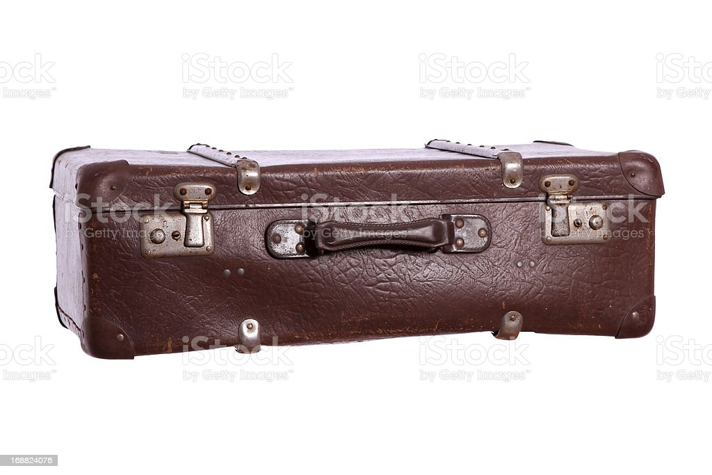old suitcase made of brown leather royalty-free stock photo