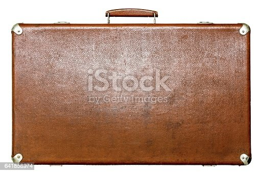 big old leather suitcase of brown color isolated on a white background