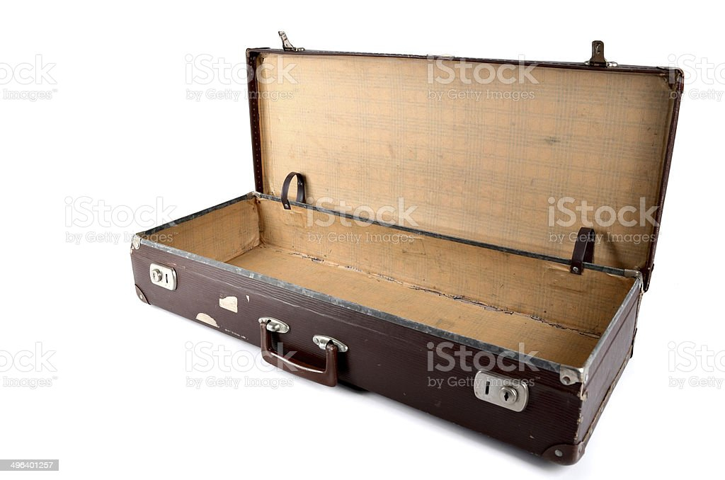 Old suitcase on white background with clipping path stock photo