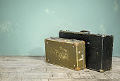 Close-Up os Old Suitcases with Clipping Path