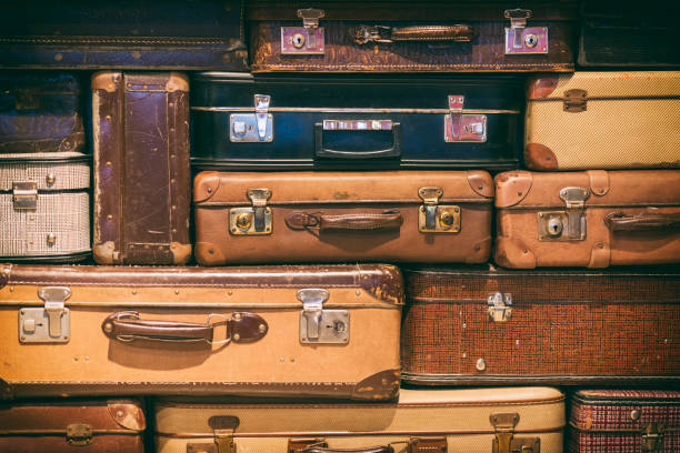 Old Suitcases Stacked stock photo