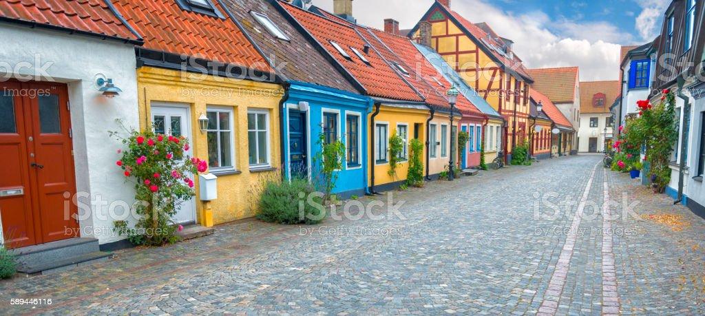 Old Swedish street bildbanksfoto