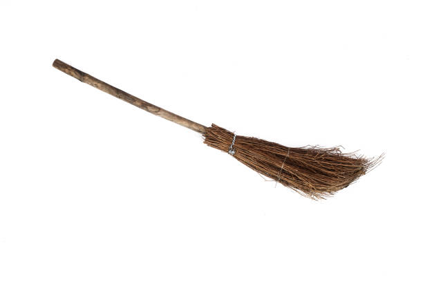 old sweeping broom , white background - sweeping stock pictures, royalty-free photos & images