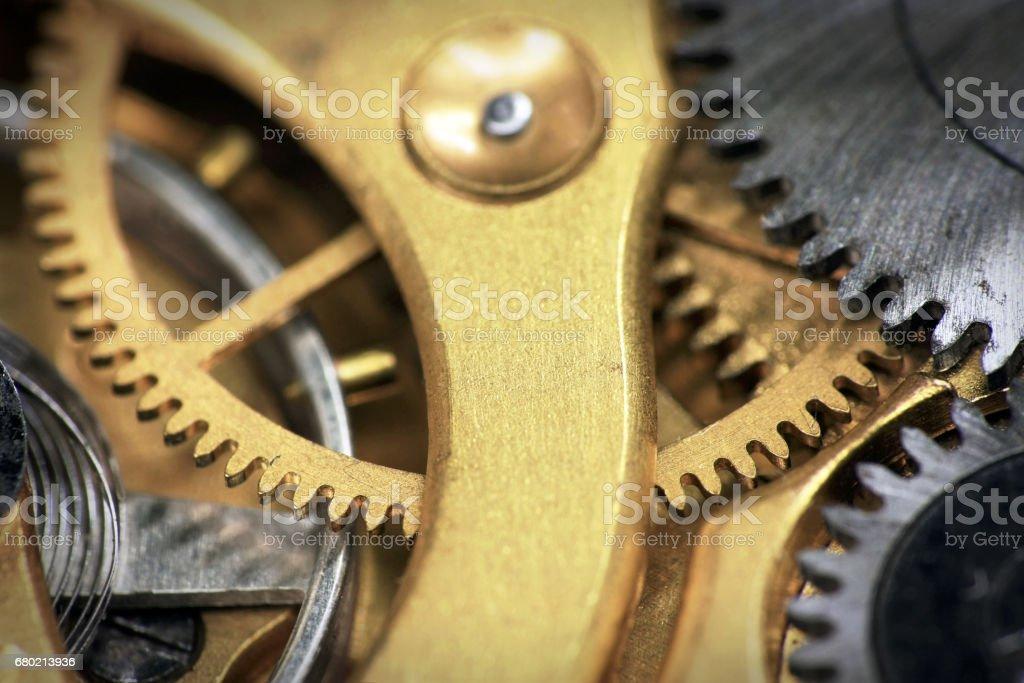Old swiss made pocket watch inside stock photo