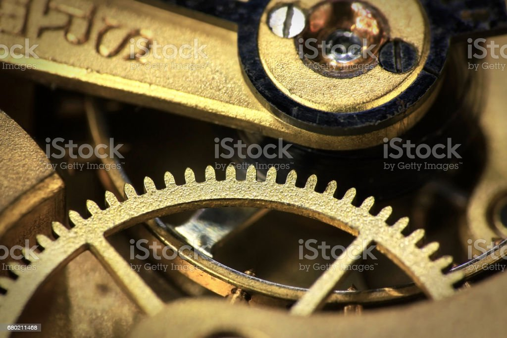 Old swiss made pocket watch wheels stock photo