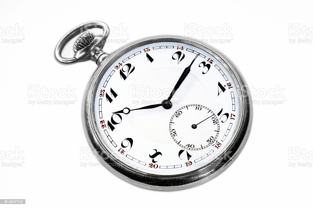 Old swiss pocket watch isolated stock photo