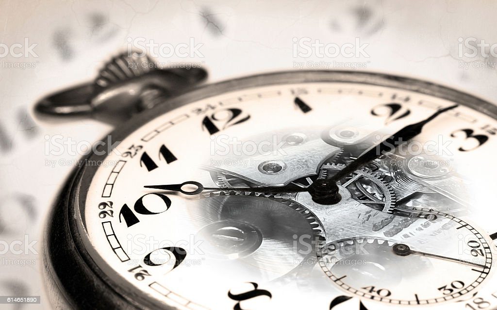 Old swiss pocket watch montage with transparent clock face stock photo