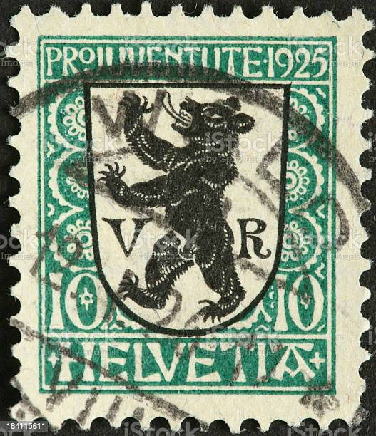 old Swiss postage stamp with standing bear