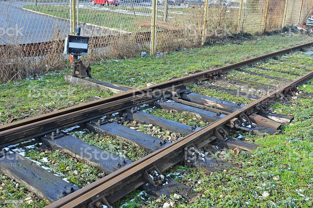 Old switches at the railway station stock photo