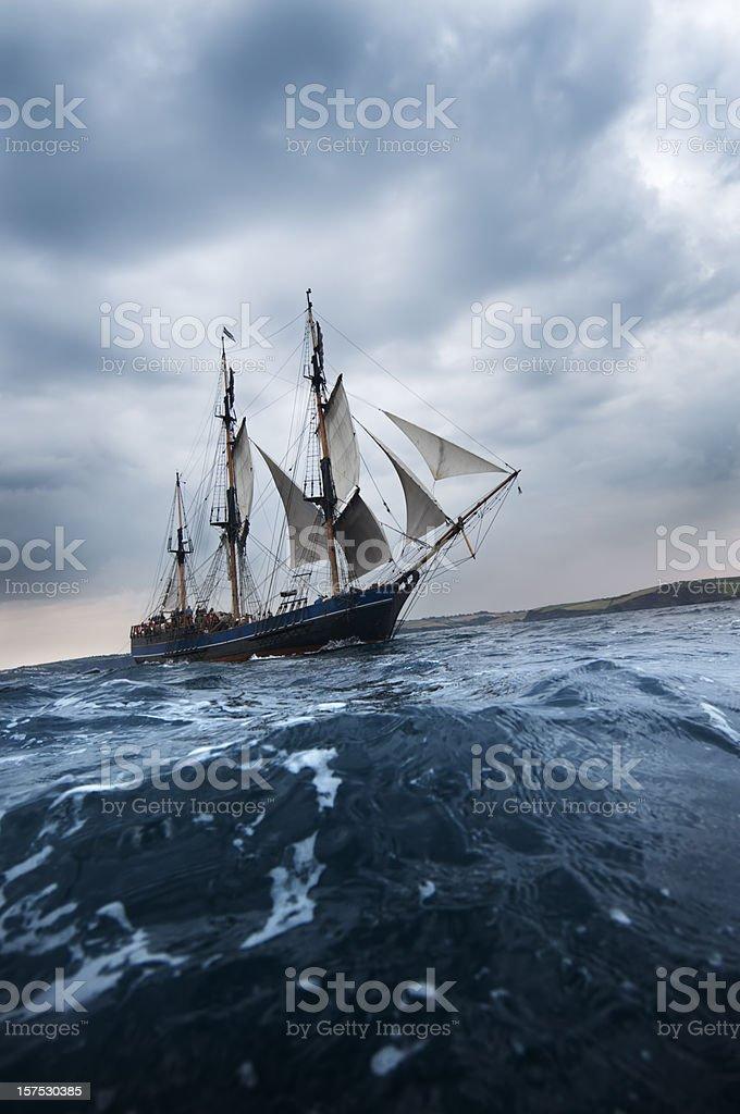 Old Tall Sailing ship off Cornwall Coast stock photo