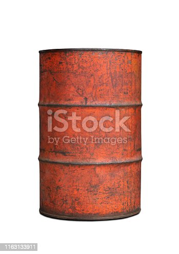 old tank contain fuel on white background clipping path