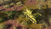 Top view of old soviet tank T 34, primary battle tank of russian army in World War II at battlefield. 3D illustration from my own 3D rendering file.
