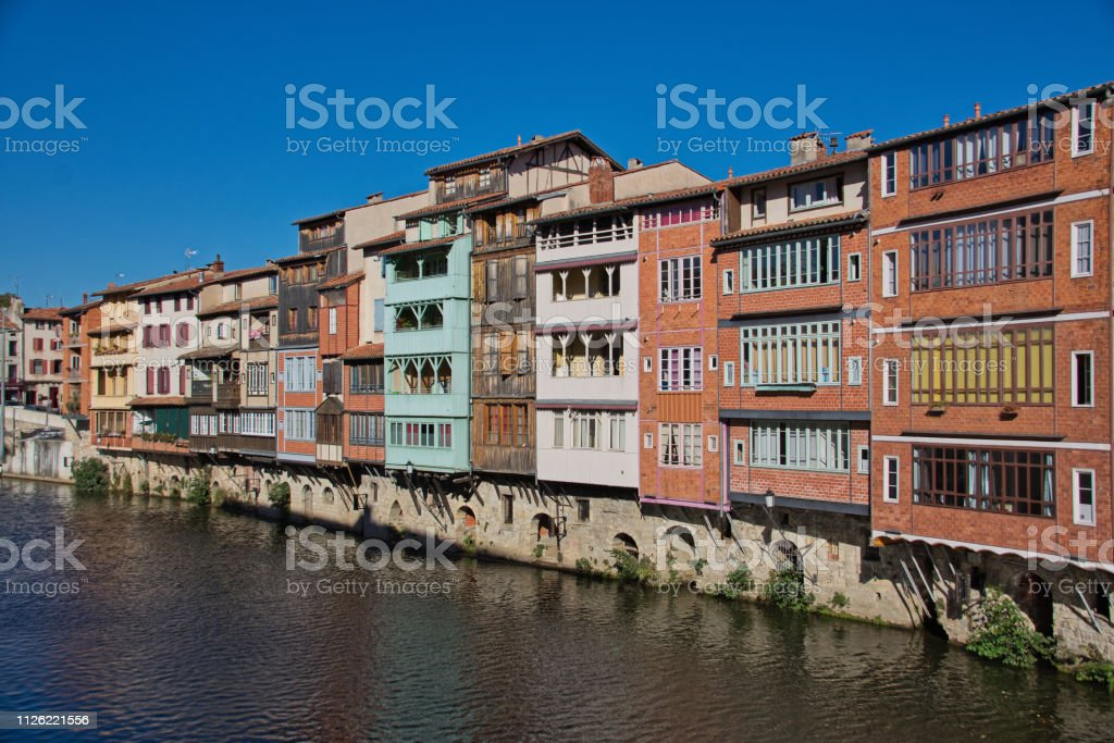 Old tanners' houses on the Agout stock photo