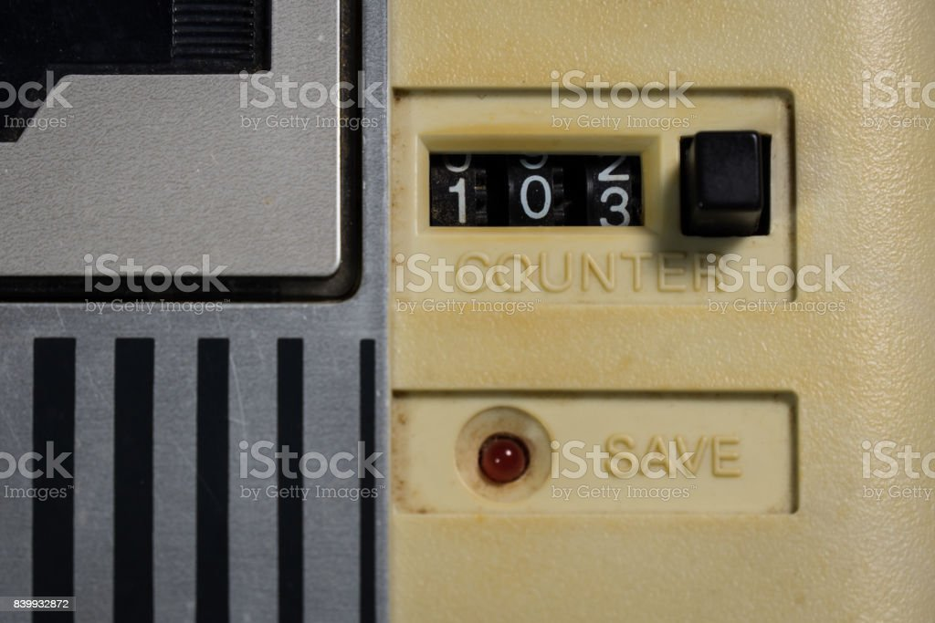 Old tape counter stock photo