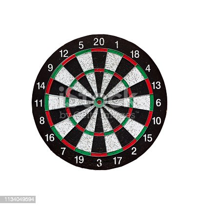 istock Old target dartboard isolate on white background. 1134049594