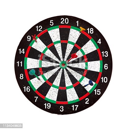 istock Old target dartboard isolate on white background. 1134049605