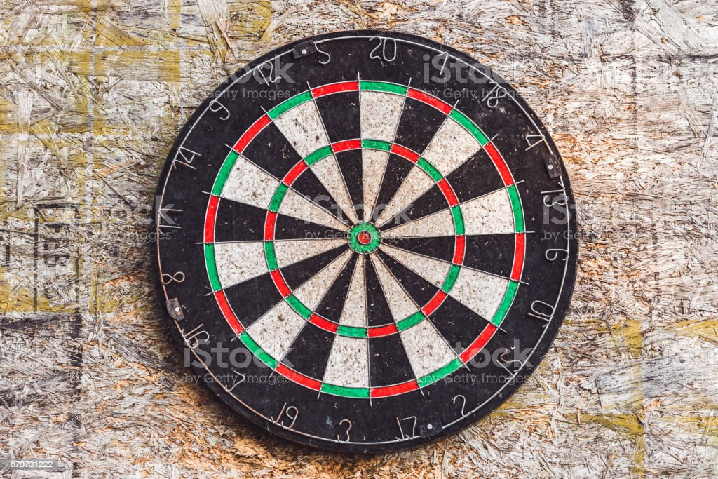Old target for darts stock photo