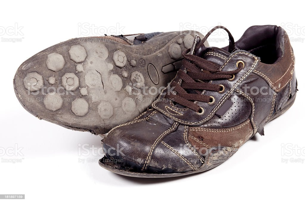 Old tattered shoes XXXL royalty-free stock photo