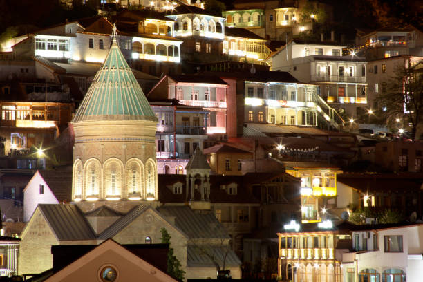 Old Tbilisi at Night stock photo