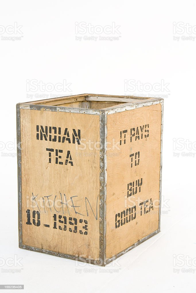 Old tea Chest on white stock photo