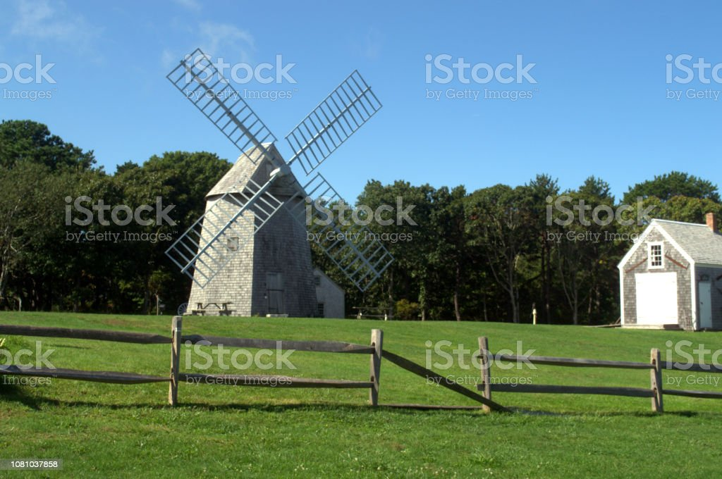 Located in Brewster MA on Cape Cod is this antique windmill used for...