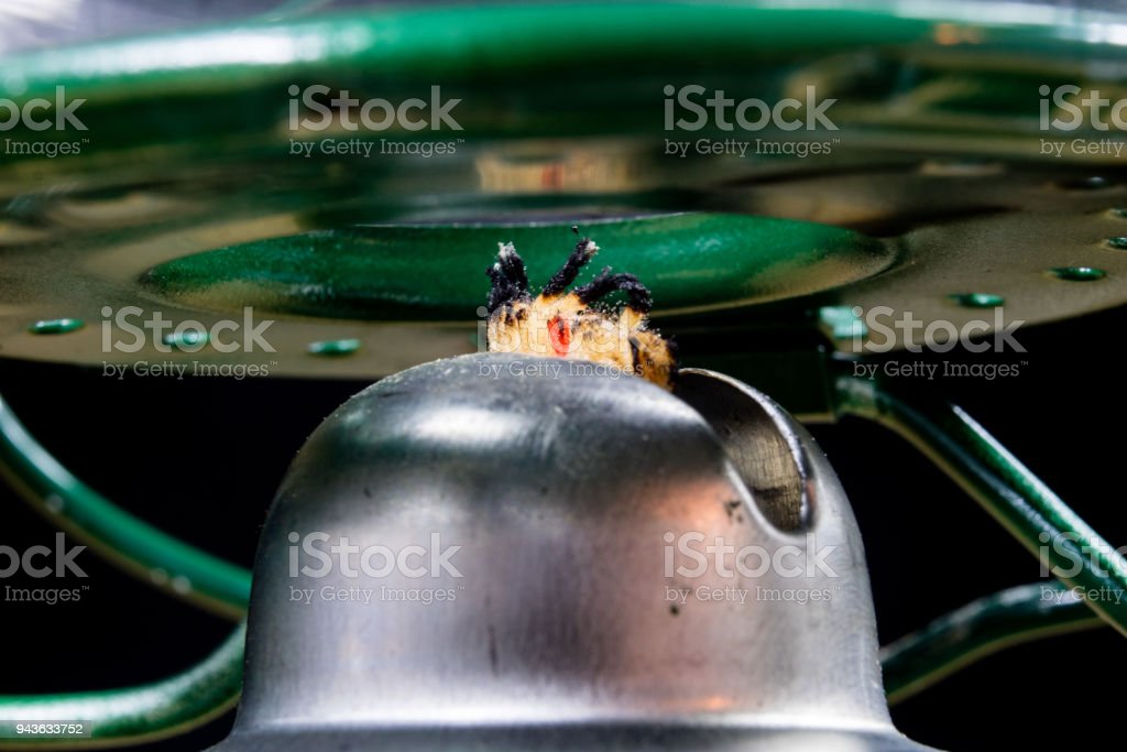 Old technology for interior lighting. Oil lamp, wick, kerosene in the...