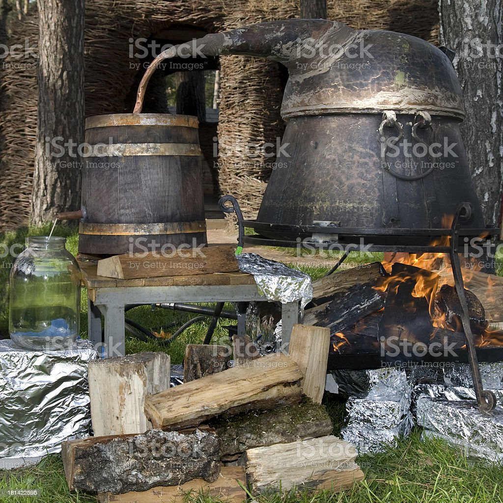 old technology of making alcohol stock photo