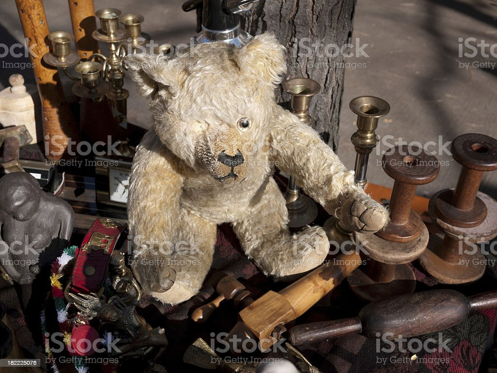 Old Teddy Bear at Garage Sale royalty-free stock photo