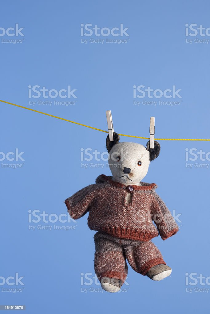 Old Teddy On The Washing Line stock photo