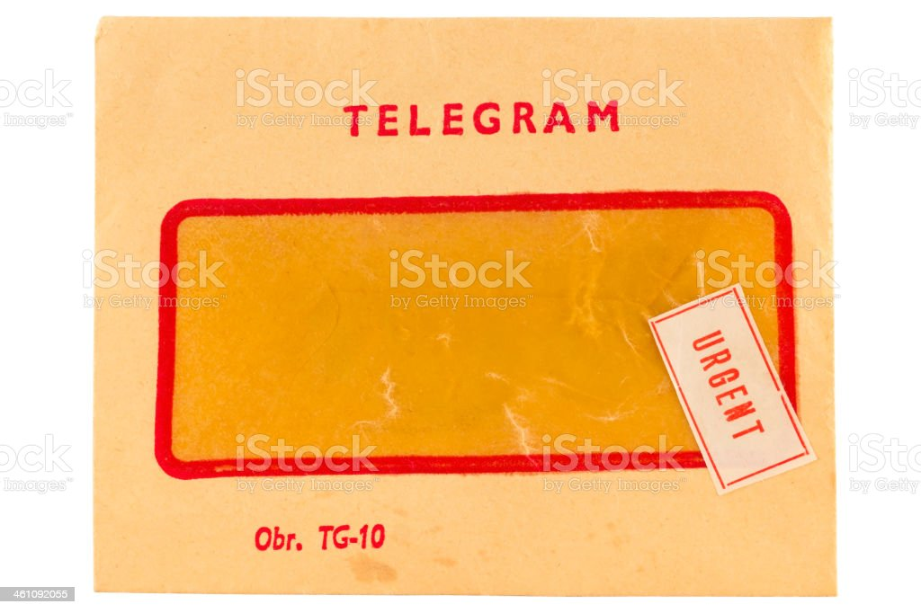 Old telegram envelope with urgent mark stock photo