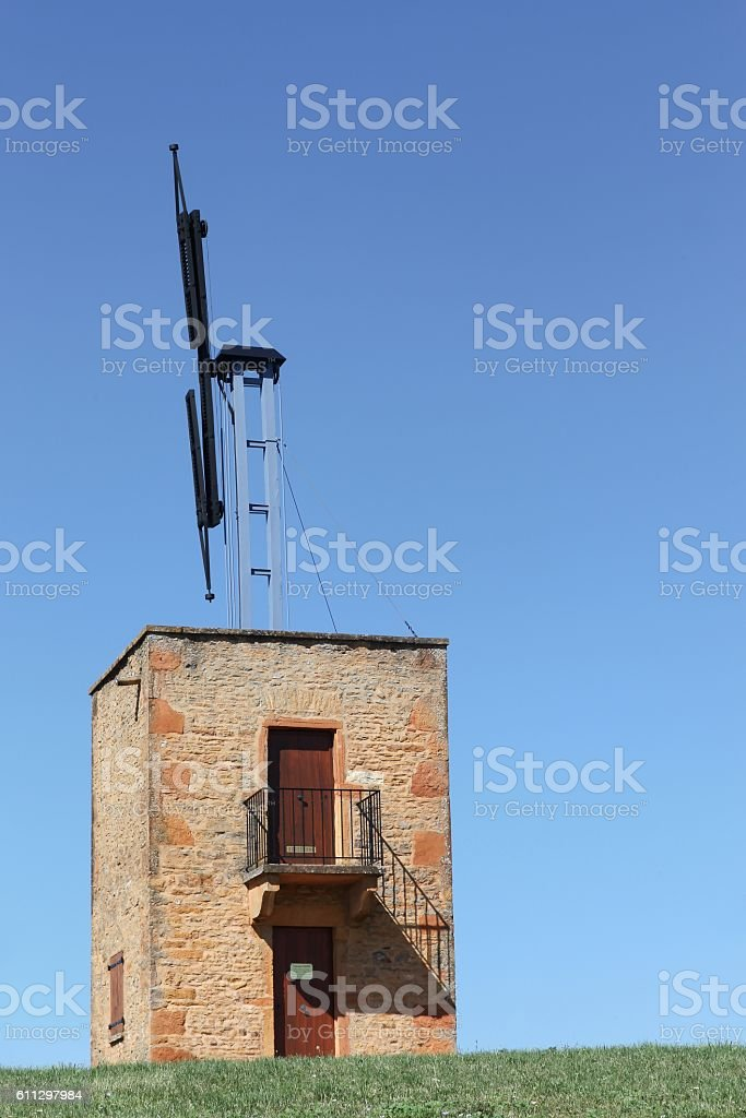 Old telegraph of Chappe in Marcy sur Anse, France stock photo