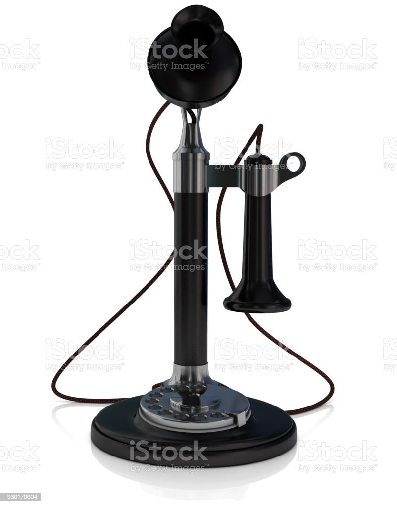 Old telephone, antique candlestick telephone black isolated in white background, 3D illustration with alpha channel stock photo