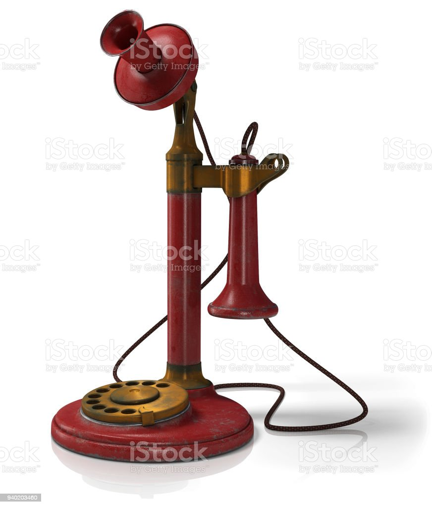 Old telephone dirty, antique candlestick telephone red isolated in white background, 3D illustration stock photo