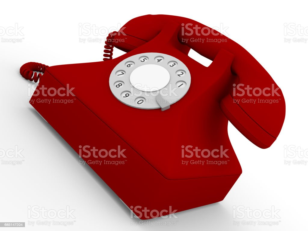 Old telephone in red royalty-free stock photo