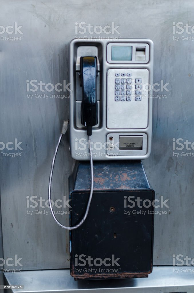 Old telephone in telephone box with copy space stock photo