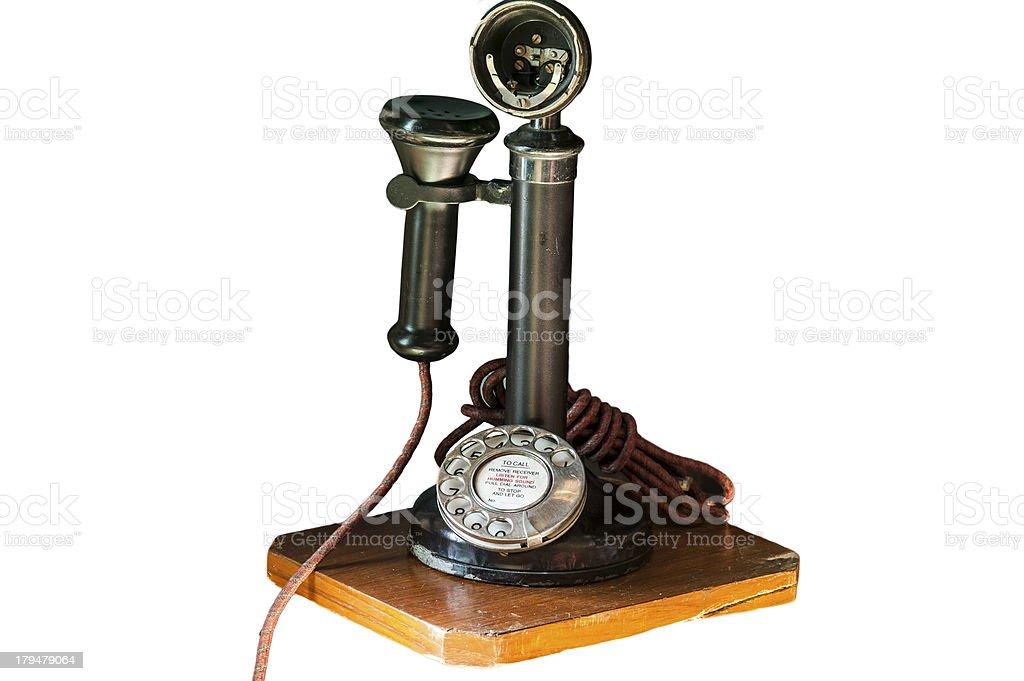 Old telephone isolate on white stock photo