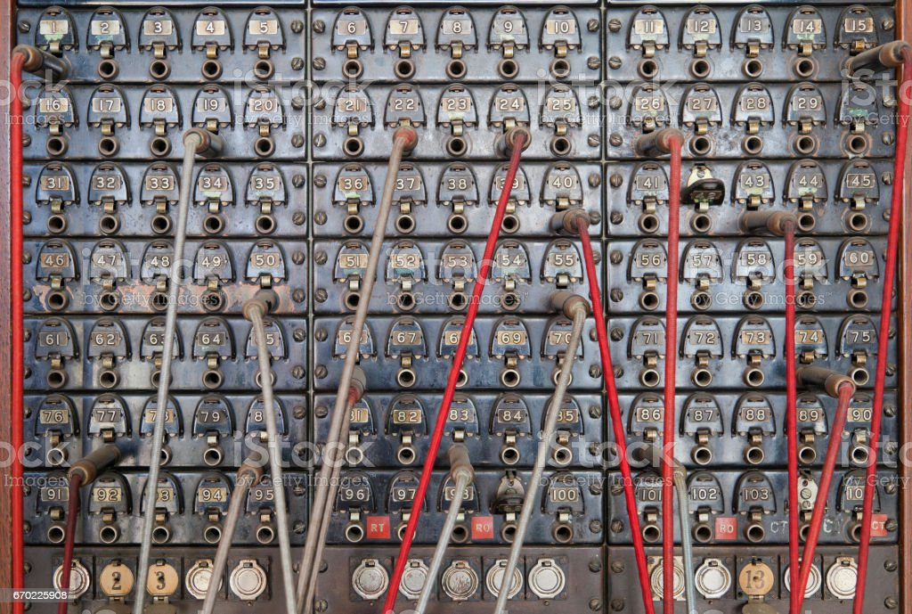Old Telephone switchboard stock photo