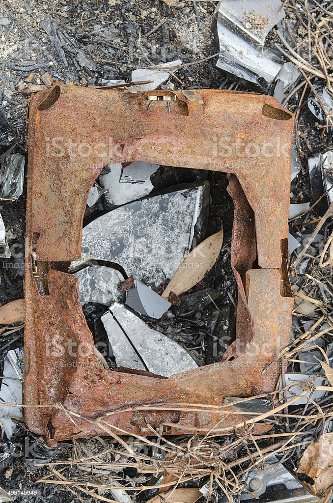 old television after effects of a fire stock photo