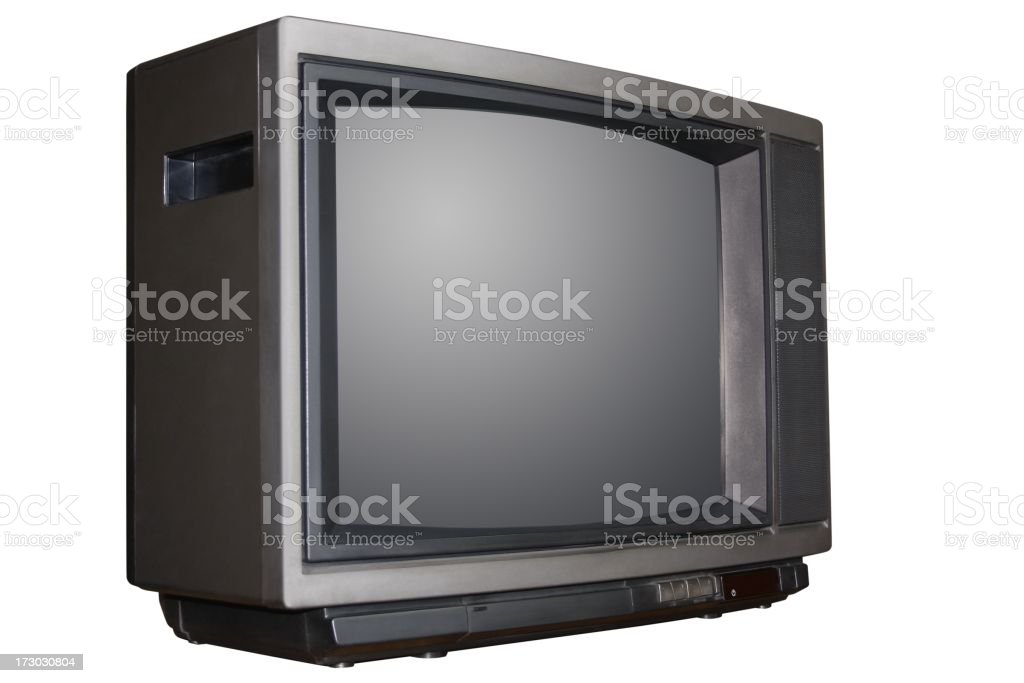Old television clipping path royalty-free stock photo