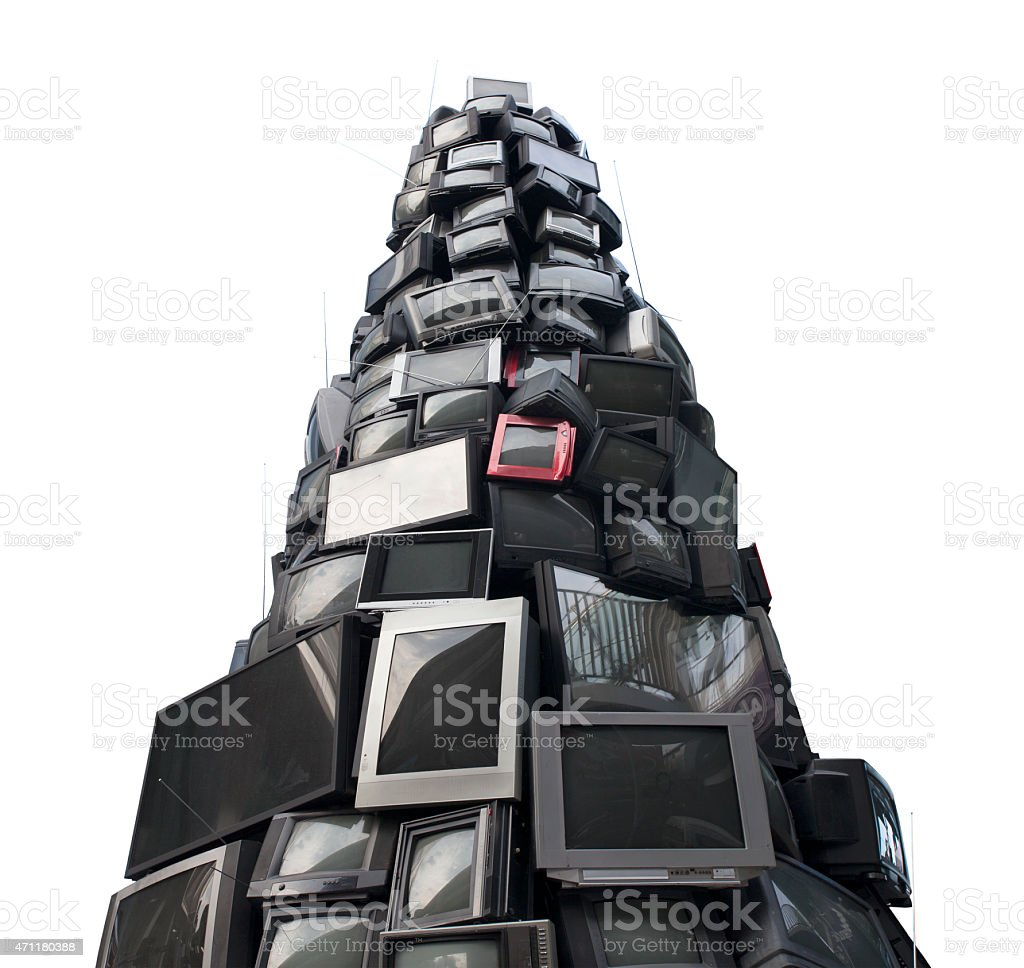 old television garbage, rubbish TV, electronic junk can be recycle. stock photo