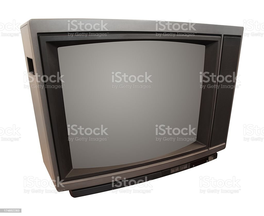 Old Television Isolated On White royalty-free stock photo