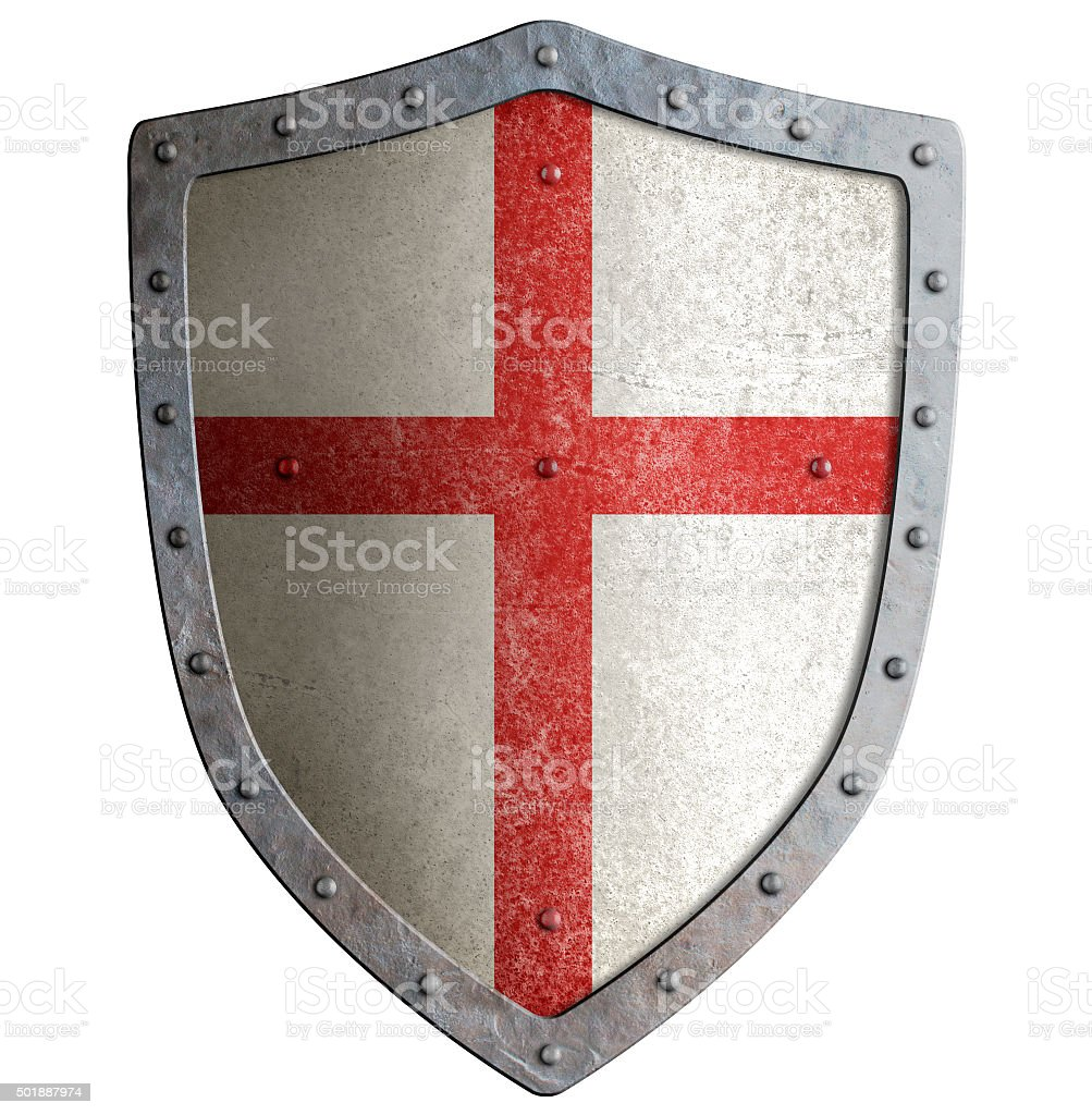 Old templar or crusader metal shield isolated stock photo