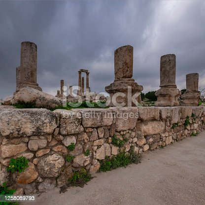 old Temple of Hercules in the citadel in the city of Amman in Jordan