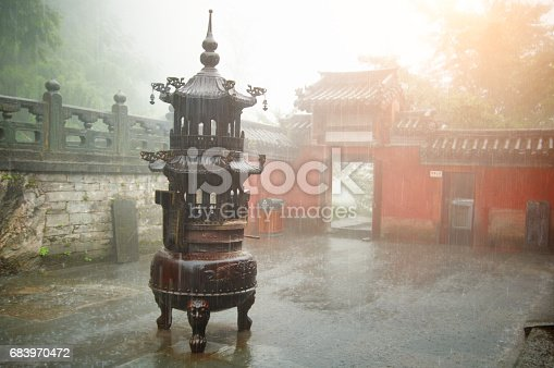 Incense in the old chinese temple